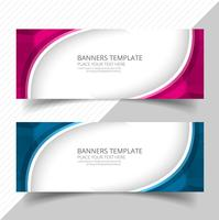 Elegant våg färgstark banners set design vektor