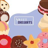 Karikatur der süßen Desserts vektor