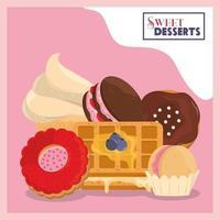 süße Desserts Bäckerei vektor
