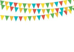 Dreieck Party Flag Girlande lokalisiert auf weißem Hintergrund vektor