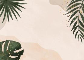 natürlicher Hintergrund mit tropischen Palmen- und Monsterblättern vektor