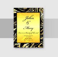 Bröllop inbjudningskort med marmor textur bakgrund vektor