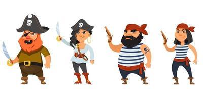 männliche und weibliche Piraten, die Waffen halten vektor
