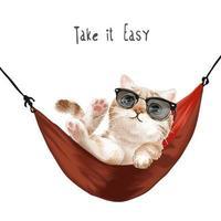 Nehmen Sie es einfach Slogan mit niedlichen Katze in der Sonnenbrille, die in der roten Hängemattenillustration entspannt vektor