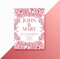 Dekoratives Blumenschablonendesign der Hochzeitseinladungskarte