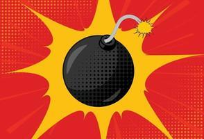 Hintergrund mit Bombe im Pop-Art-Stil vektor