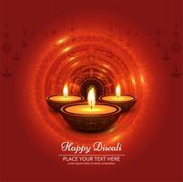 Diwali Festival Design mit drei Kerzen vektor