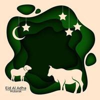 eid al adha mubarak paperart hintergrund vektor