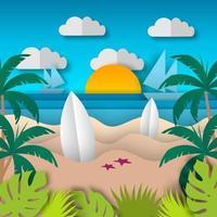Papierkunst Sommerlandschaft Hintergrund vektor