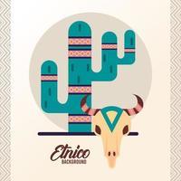 Kuhkopfschädel und Kaktus-Ethno-Kultur-Boho-Ikone vektor