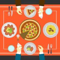 Flache Leute, die an der italienischen Restaurant-Küchen-Draufsicht-Vektor-Illustration essen vektor