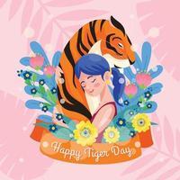 junge Frauen umarmen Tiger vektor