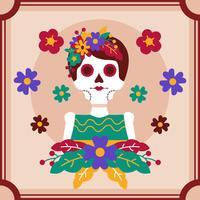 Rahmen-Schädel-Frauen-Tag des toten Vektors
