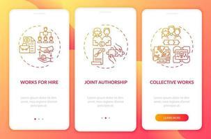 Urheberrecht Sonderregeln Onboarding Mobile App Seitenbildschirm mit Konzepten vektor
