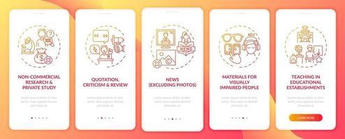 Copyright-Ausnahmen Onboarding Mobile App-Seitenbildschirm mit Konzepten vektor