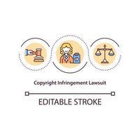 Symbol für das Konzept der Urheberrechtsverletzungsklage vektor