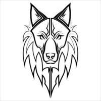 Schwarzweiss-Linienkunst des Wolfskopfes gute Verwendung für Symbolmaskottchenikone-Avatar-Tätowierungs-T-Shirt-Designlogo oder jedes gewünschte Design vektor