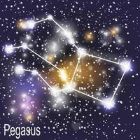 Pegasus-Konstellation mit schönen hellen Sternen auf dem Hintergrund der Vektorillustration des kosmischen Himmels vektor