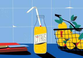Zitrusfrucht-Saft in der Küchentisch-Weinlese-Vektor-flachen Hintergrund-Illustration