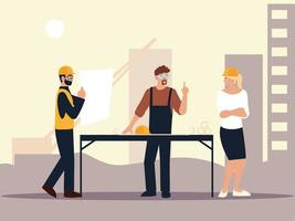 Baumeister und Architekten weiblich und männlich in der Baustelle mit Bauplänen vektor