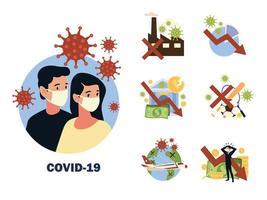 Die Auswirkungen des Covon-19-Coronavirus-Virus wirken sich auf die Reisesportarten und den Lebensstil der Weltwirtschaft aus vektor