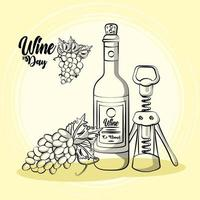 Weinflaschengetränk mit Korkenzieher und Trauben vektor