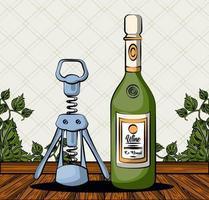 Weinflaschengetränk mit Korkenzieher vektor