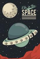 Leben im Weltraum Poster mit UFO fliegen vektor