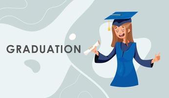 Mädchen Abschluss in einem Kleid mit einem Zertifikat vektor