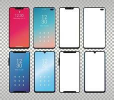 uppsättning mockup smartphones enheter ikoner vektor