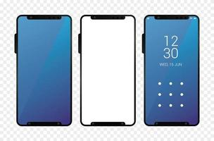 tre mockup smartphones enheter ikoner vektor
