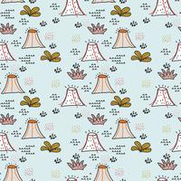 volcano doodle pattern vektor