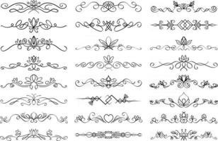 Blumentextteiler Set Sammlung von Text Teilung gedeihen lineare Ornamente mit Blumenelementen Vektor Absatzteiler in schwarzer Farbe isoliert auf weißem Hintergrund
