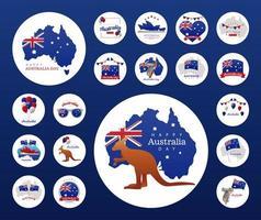 Ikonen in Rahmenrundschreiben des glücklichen Australien-Tages vektor