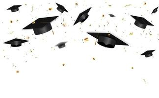 Abschlussklasse von 2021 mit Abschlusskappe und Konfetti vektor