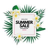 natürlicher Hintergrund des Sommerverkaufsplakats mit tropischen Palmblättern und exotischer Blume vektor