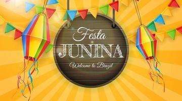 Festa Junina Hintergrund mit Party Flaggen und Laternen. Brasilien Juni Festival Hintergrund für Grußkarte vektor