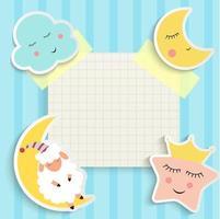 Kind gute Nacht Hintergrund mit Wolke, Stern und Mond vektor