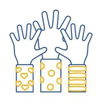 Down-Syndrom Hände hoch Linie Stil-Symbol vektor