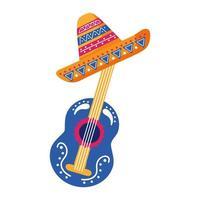 Gitarre mit traditioneller mexikanischer Hut flache Stilikone vektor