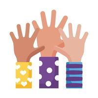 Down-Syndrom Hände hoch flache Stilikone vektor