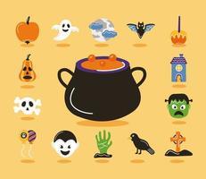 Bündel von Halloween-Set-Ikonen und Kessel vektor
