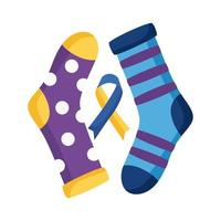 Down-Syndrom-Kampagnenband mit Socken flache Stilikone vektor