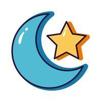 Stern und Mond Halbmond Slang Linie und füllen Stilikone vektor