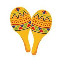 Maracas mexikanische Kultur flache Stilikone vektor