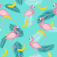 schöner Sommer nahtloser Musterhintergrund mit Palmenblattschattenbild und Bananen vektor
