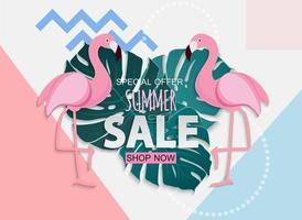 abstrakter Sommerverkaufshintergrund mit Palmblättern und Flamingo vektor