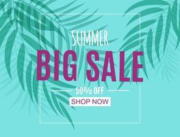 abstrakter Sommerverkaufshintergrund mit Palmblättern vektor