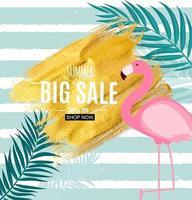 abstrakter Sommerverkaufshintergrund mit Flamingo und Palmblättern vektor