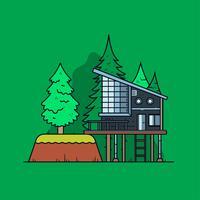 Moderne Hütte im Wald Vektor